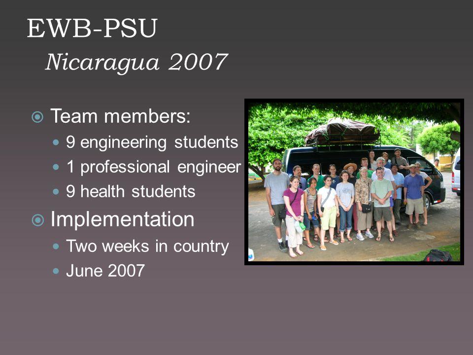 EWB-PSU Nicaragua 2007  Team members: 9 engineering students 1 professional engineer 9 health students  Implementation Two weeks in country June 200