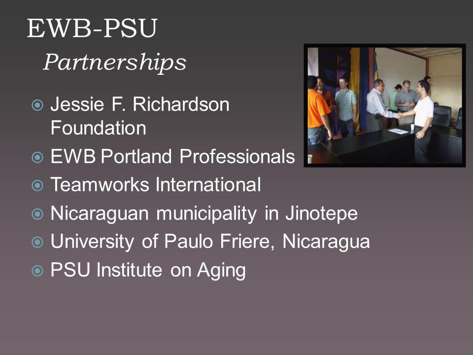 EWB-PSU Partnerships  Jessie F. Richardson Foundation  EWB Portland Professionals  Teamworks International  Nicaraguan municipality in Jinotepe 
