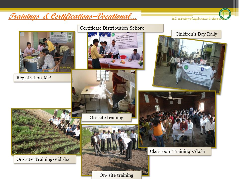 Registration-MP Certificate Distribution-Sehore On- site Training-Vidisha On- site training Classroom Training -Akola On- site training Children's Day Rally Indian Society of Agribusiness Professionals Trainings & Certifications–Vocational …