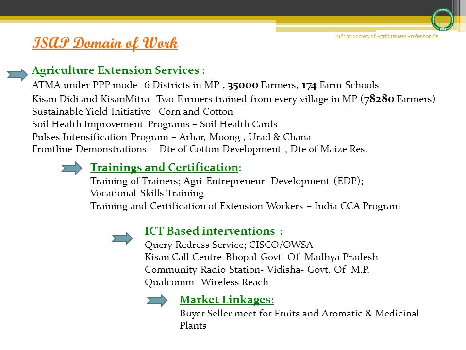 ISAP Domain of Work Trainings and Certification : Training of Trainers; Agri-Entrepreneur Development (EDP); Vocational Skills Training Training and Certification of Extension Workers – India CCA Program ICT Based interventions : Query Redress Service; CISCO/OWSA Kisan Call Centre-Bhopal-Govt.