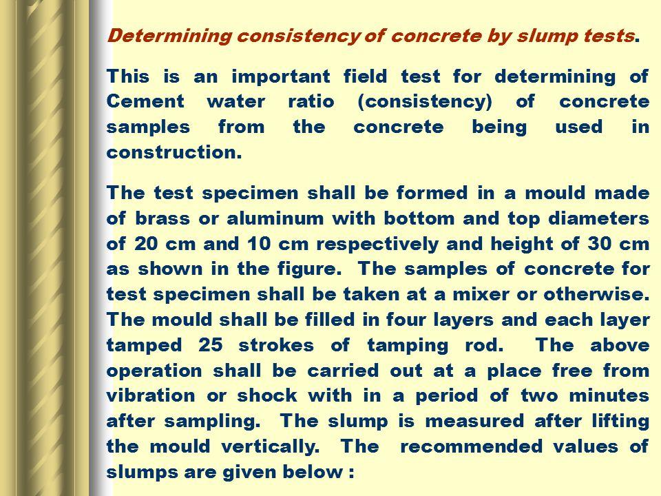 Determining consistency of concrete by slump tests.
