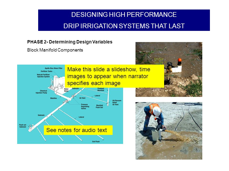 DESIGNING HIGH PERFORMANCE DRIP IRRIGATION SYSTEMS THAT LAST Quiz Question #1: The application rate of the design MUST be greater than the infiltration rate of the soil.