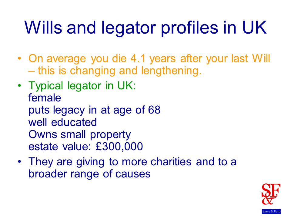 Wills and legator profiles in UK On average you die 4.1 years after your last Will – this is changing and lengthening.