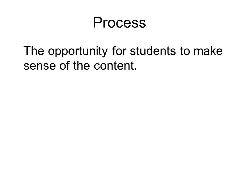 Process The opportunity for students to make sense of the content.