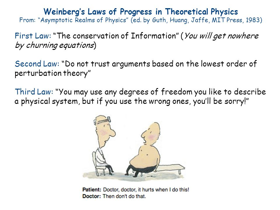 Weinberg's Laws of Progress in Theoretical Physics From: Asymptotic Realms of Physics (ed.