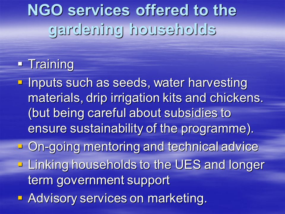 NGO services offered to the gardening households  Training  Inputs such as seeds, water harvesting materials, drip irrigation kits and chickens.