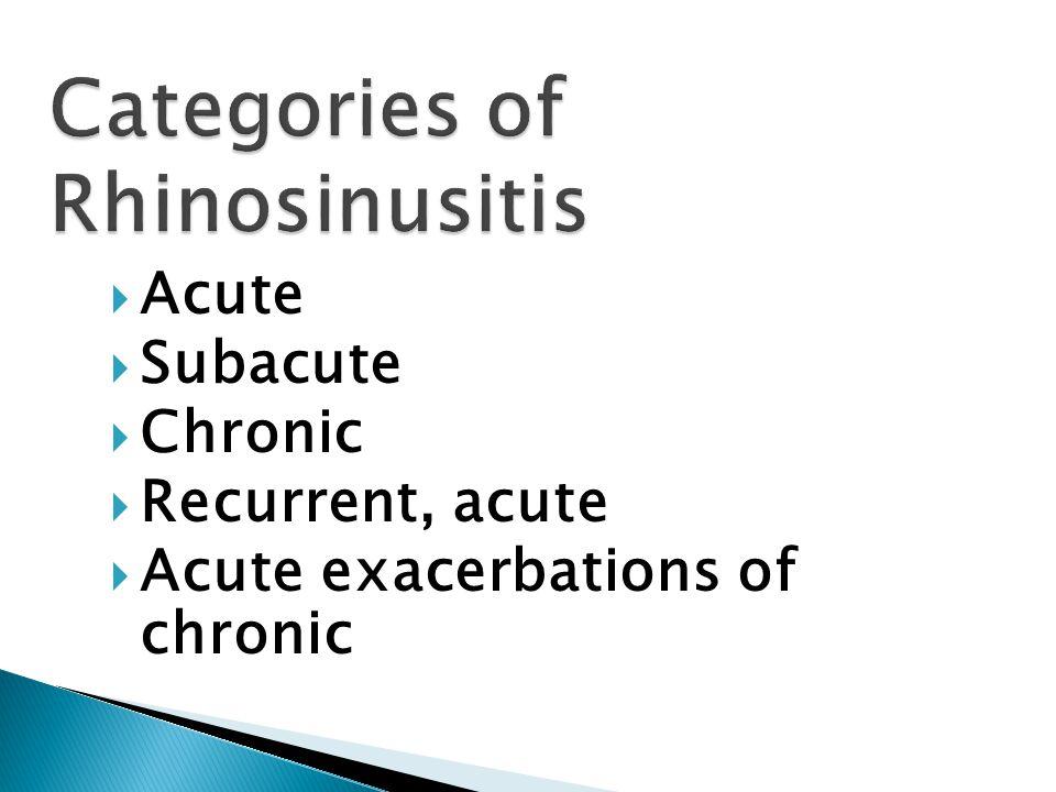  Acute  Subacute  Chronic  Recurrent, acute  Acute exacerbations of chronic
