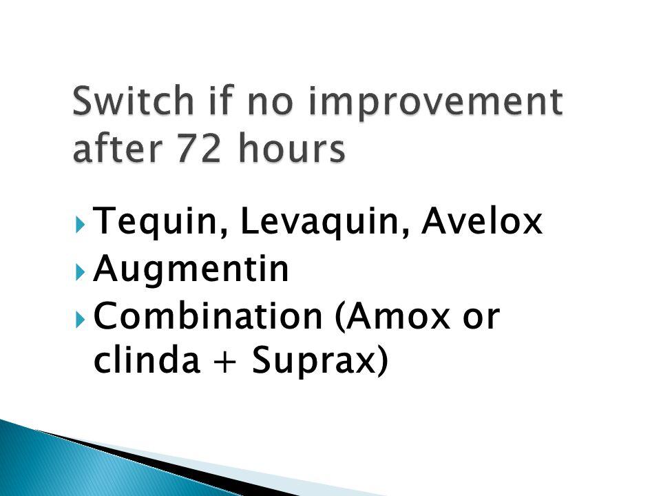  Tequin, Levaquin, Avelox  Augmentin  Combination (Amox or clinda + Suprax)