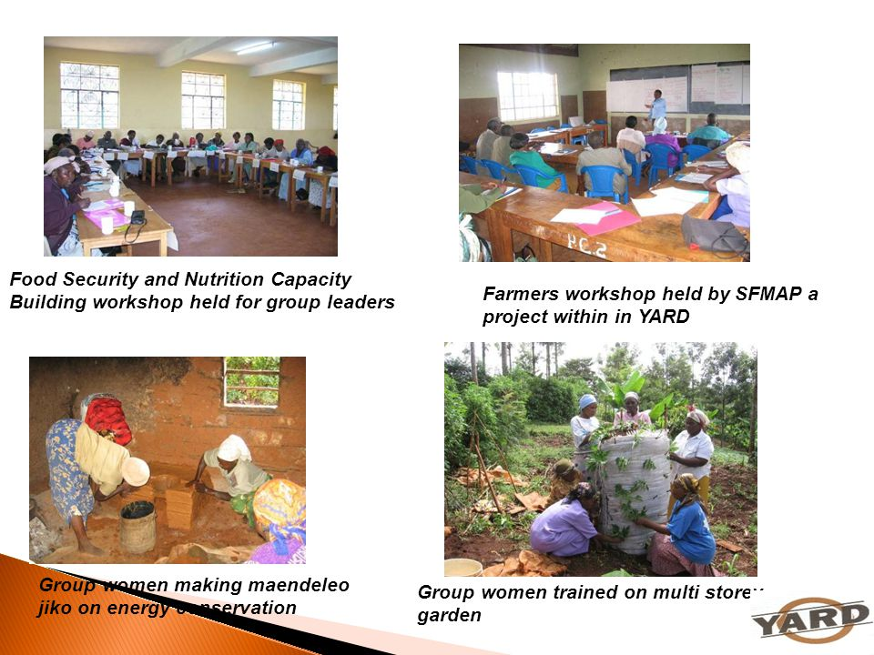 Group women making maendeleo jiko on energy conservation Food Security and Nutrition Capacity Building workshop held for group leaders Farmers worksho