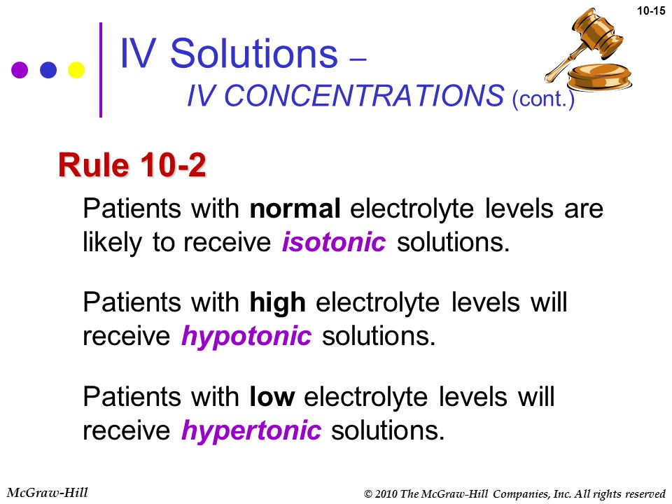 © 2010 The McGraw-Hill Companies, Inc. All rights reserved McGraw-Hill 10-15 IV Solutions – IV CONCENTRATIONS (cont.) Rule 10-2 Patients with normal e