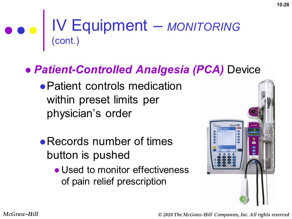 © 2010 The McGraw-Hill Companies, Inc. All rights reserved McGraw-Hill 10-26 Patient-Controlled Analgesia (PCA) Device Patient controls medication wit