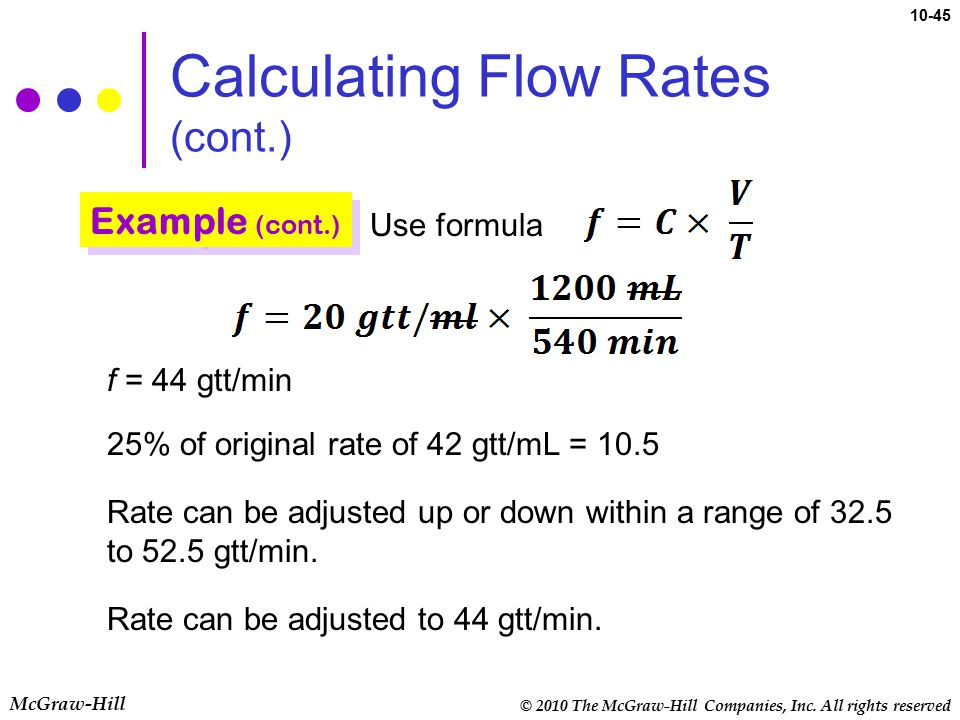© 2010 The McGraw-Hill Companies, Inc. All rights reserved McGraw-Hill 10-45 Calculating Flow Rates (cont.) Use formula f = 44 gtt/min 25% of original