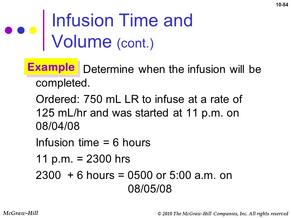 © 2010 The McGraw-Hill Companies, Inc. All rights reserved McGraw-Hill 10-54 Infusion Time and Volume (cont.) Determine when the infusion will be comp