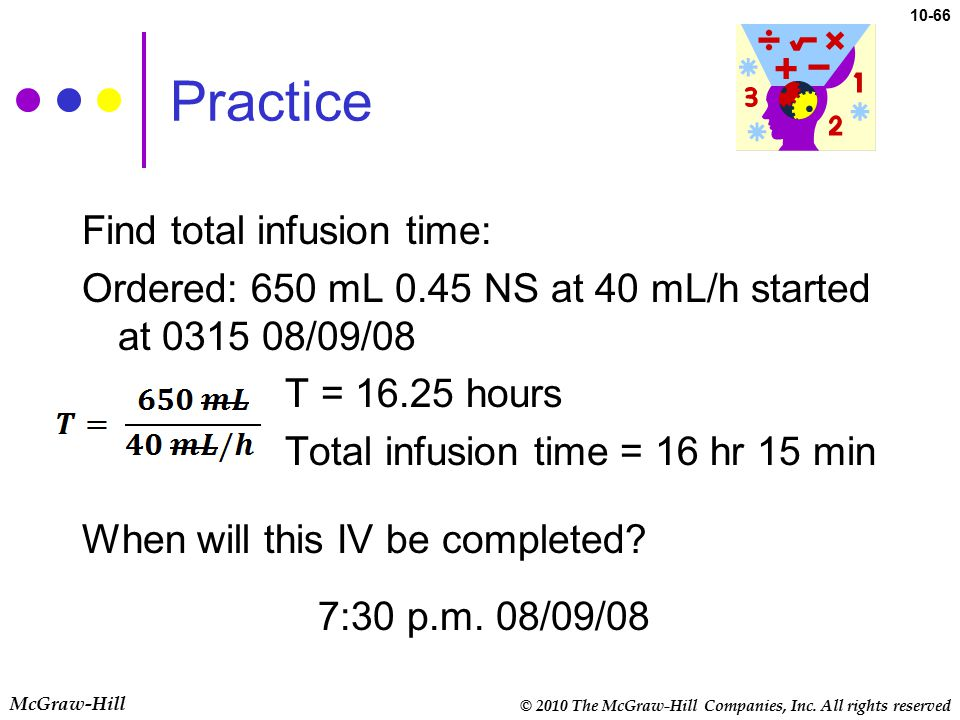 © 2010 The McGraw-Hill Companies, Inc. All rights reserved McGraw-Hill 10-66 Practice Find total infusion time: Ordered: 650 mL 0.45 NS at 40 mL/h sta