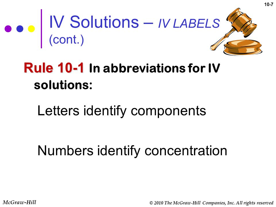 © 2010 The McGraw-Hill Companies, Inc. All rights reserved McGraw-Hill 10-7 IV Solutions – IV LABELS (cont.) Rule 10-1 Rule 10-1 In abbreviations for