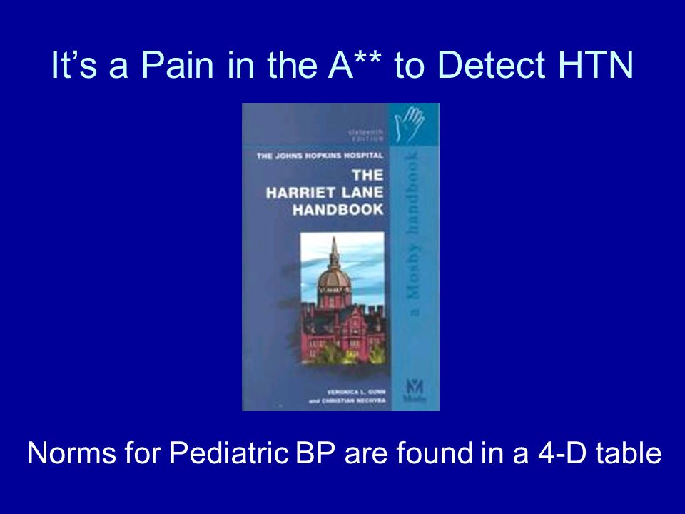 It's a Pain in the A** to Detect HTN Norms for Pediatric BP are found in a 4-D table