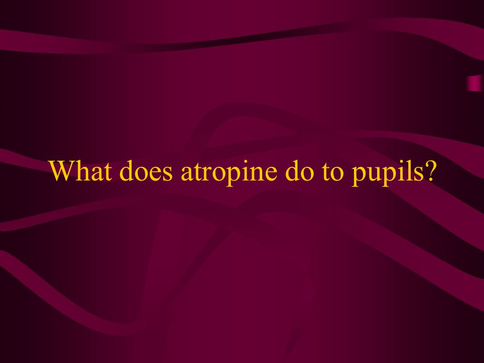 What does atropine do to pupils