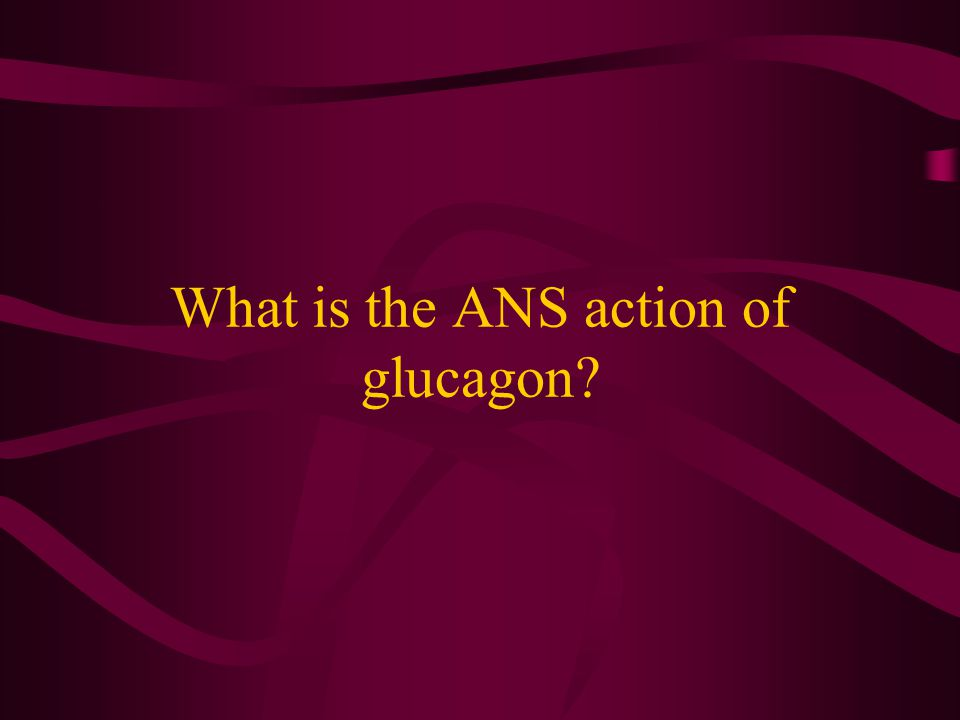 What is the ANS action of glucagon