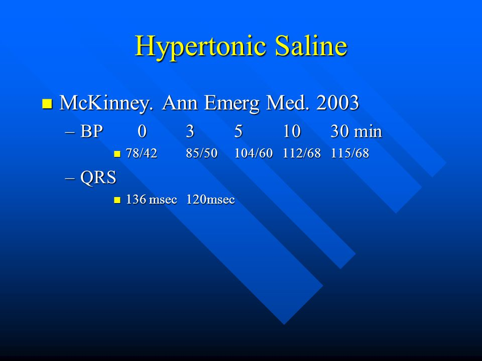 Hypertonic Saline McKinney. Ann Emerg Med. 2003 McKinney.