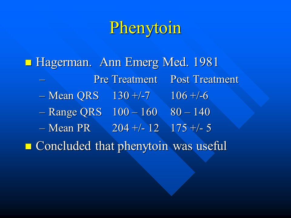 Phenytoin Hagerman. Ann Emerg Med. 1981 Hagerman.