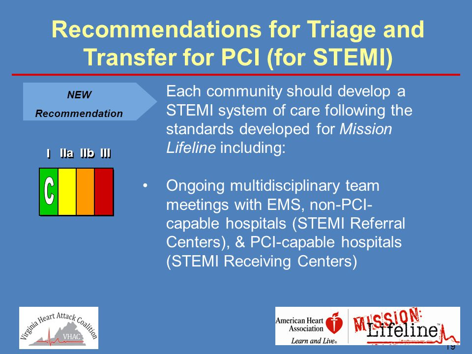 19 Recommendations for Triage and Transfer for PCI (for STEMI) NEW Recommendation Each community should develop a STEMI system of care following the s