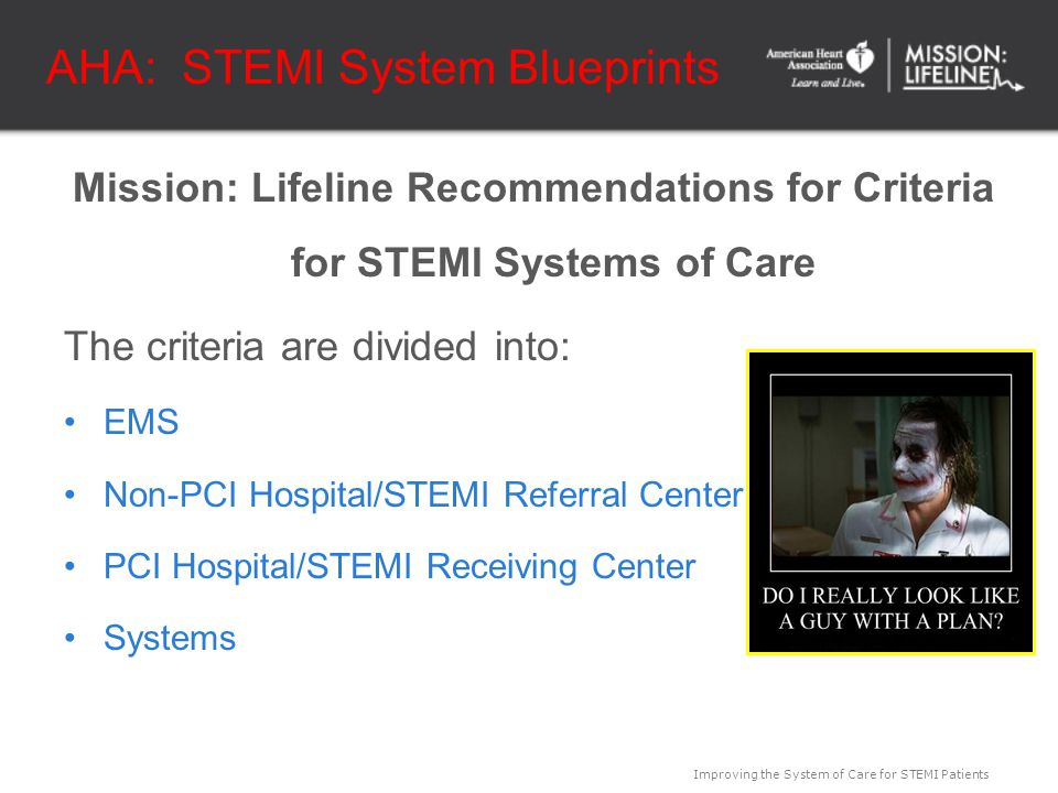 Improving the System of Care for STEMI Patients AHA: STEMI System Blueprints Mission: Lifeline Recommendations for Criteria for STEMI Systems of Care