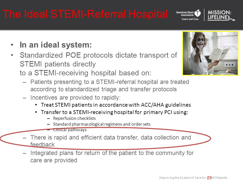 Improving the System of Care for STEMI Patients The Ideal STEMI-Referral Hospital In an ideal system: Standardized POE protocols dictate transport of