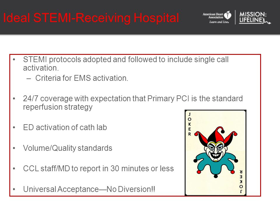 Ideal STEMI-Receiving Hospital STEMI protocols adopted and followed to include single call activation. –Criteria for EMS activation. 24/7 coverage wit