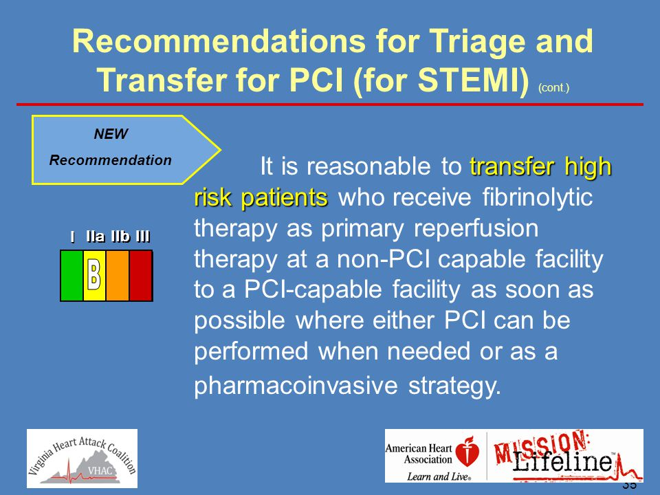 35 Recommendations for Triage and Transfer for PCI (for STEMI) (cont.) NEW Recommendation transfer high risk patients It is reasonable to transfer hig