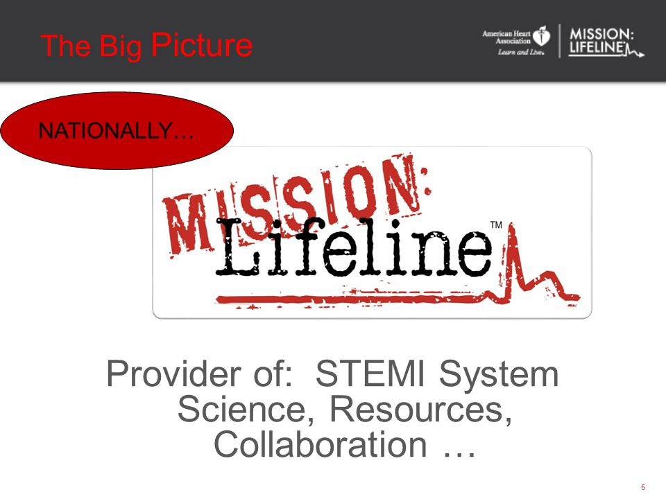 The Big Picture Provider of: STEMI System Science, Resources, Collaboration … 5 NATIONALLY…