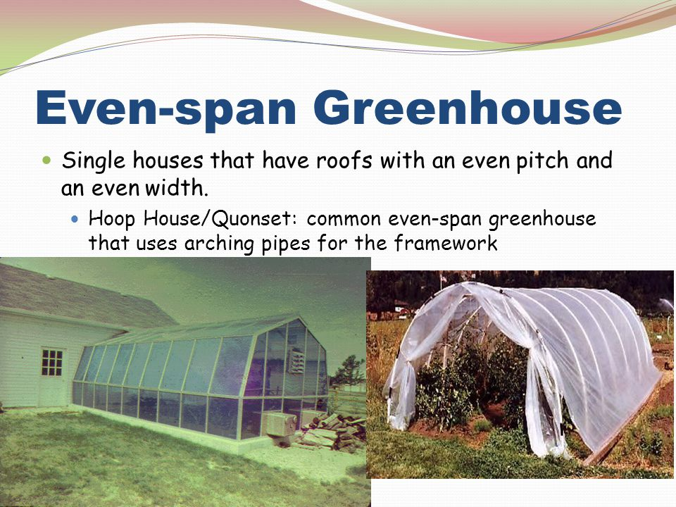 Even-span Greenhouse Single houses that have roofs with an even pitch and an even width. Hoop House/Quonset: common even-span greenhouse that uses arc