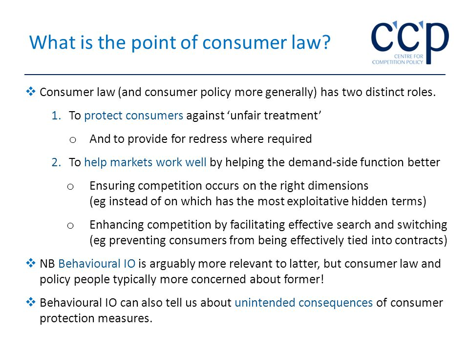 What is the point of consumer law.
