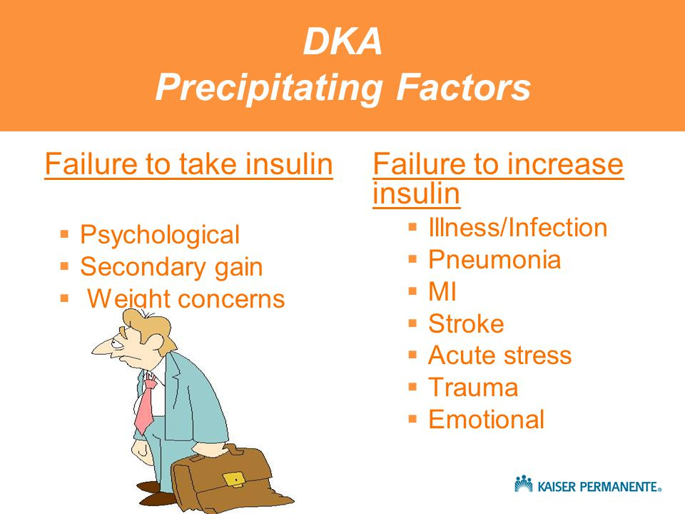 Treatment of DKA Fluids and Electrolytes Fluid replacement  Restores perfusion of the tissues  Average fluid deficit 3-5 liters Initial resuscitation  1-2 liters of normal saline over the first 2 hours  Slower rates of 500cc/hr x 4 hrs or 250 cc/hr x 4 hours When fluid overload is a concern After the first Liter consider ½ NS