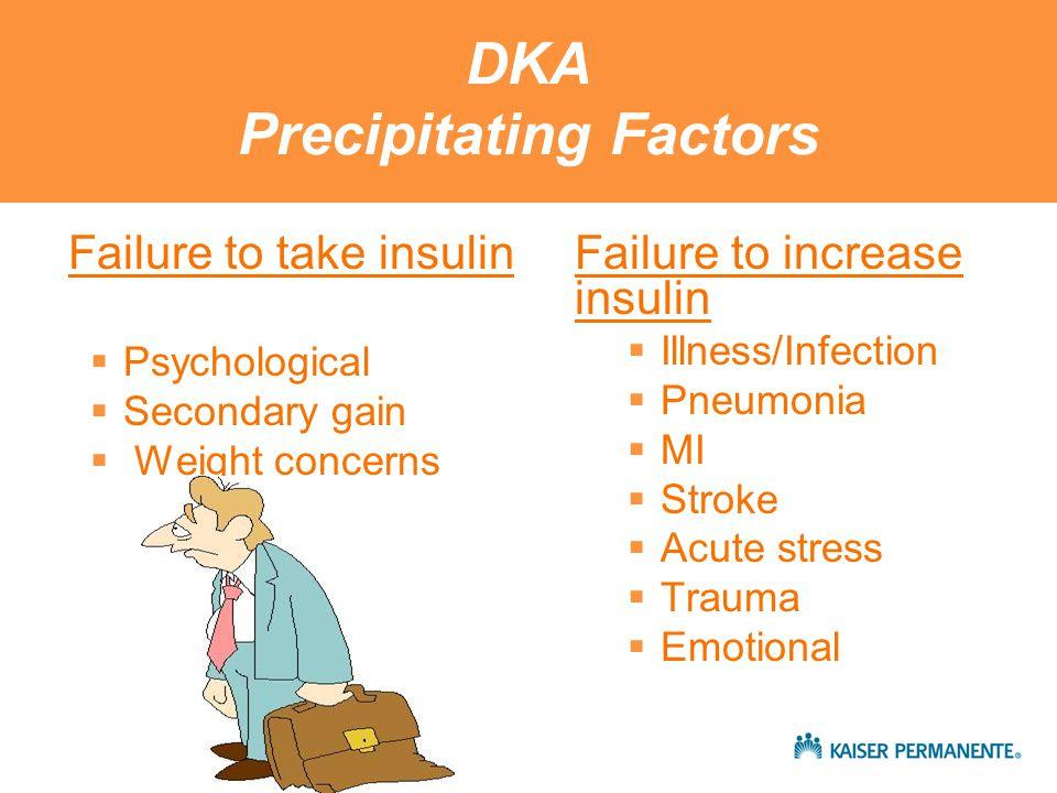 Diabetic Ketoacidosis Also… Excess counterregulatory hormones Glucagon Epinephrine Cortisol Growth hormone