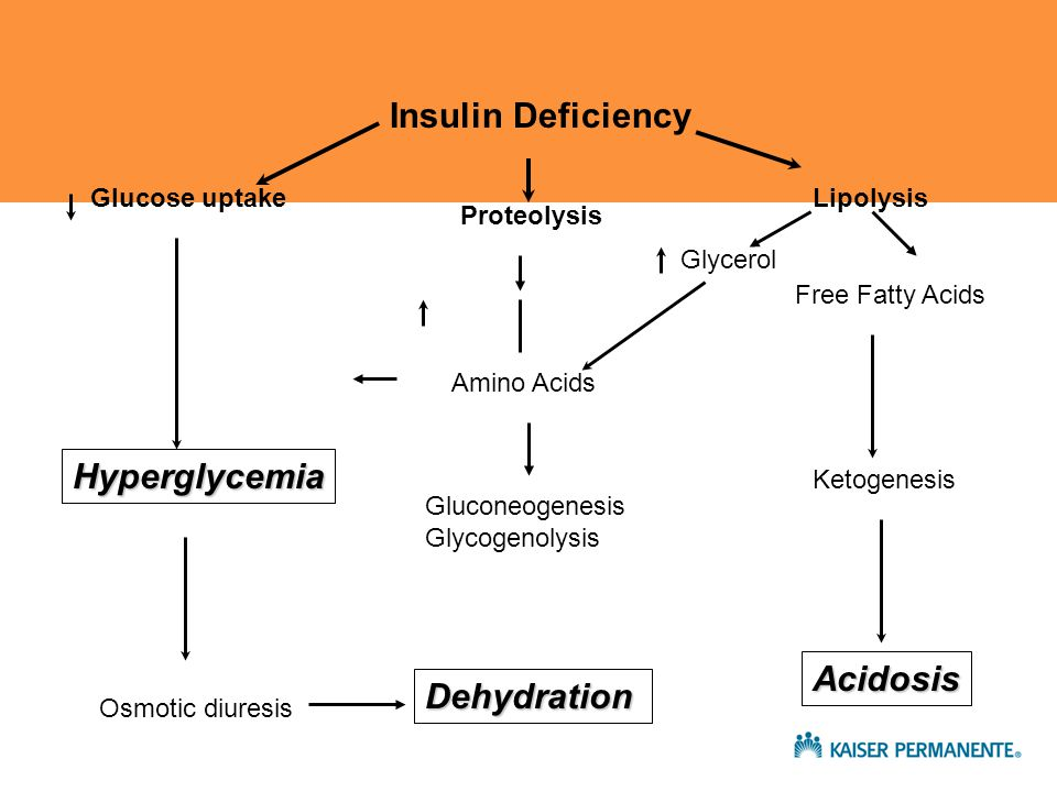 Insulin Deficiency Glucose uptake Proteolysis Lipolysis Amino Acids Glycerol Free Fatty Acids Gluconeogenesis Glycogenolysis Hyperglycemia Ketogenesis Acidosis Osmotic diuresis Dehydration