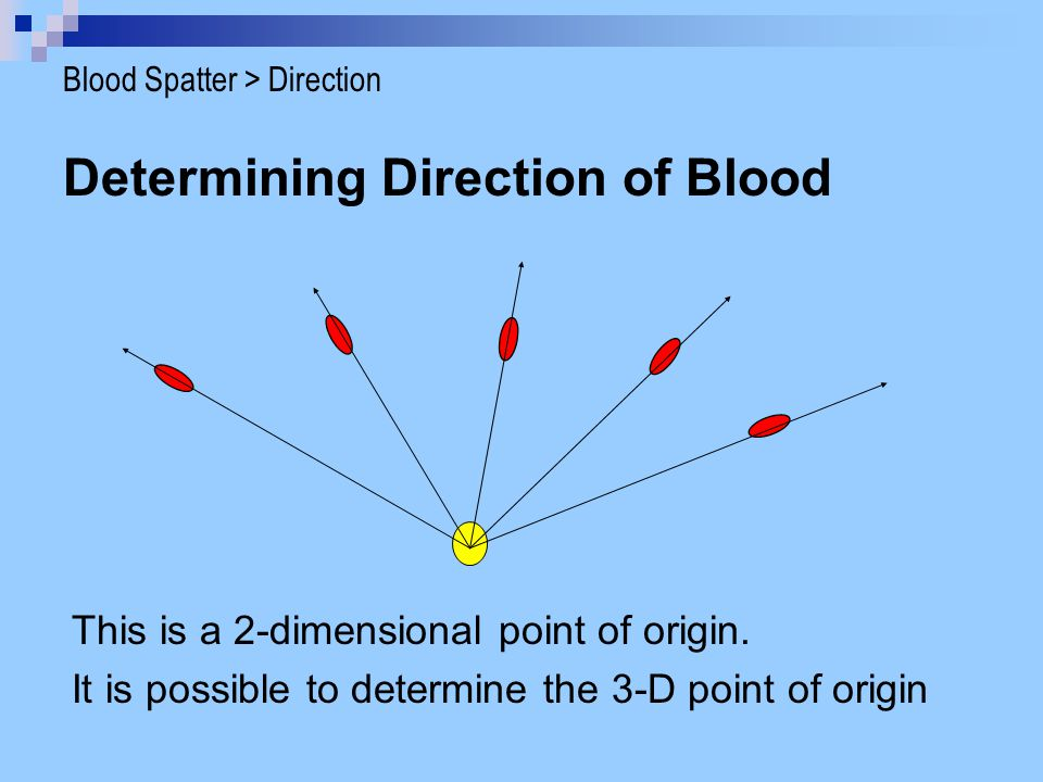 Determining Direction of Blood This is a 2-dimensional point of origin.