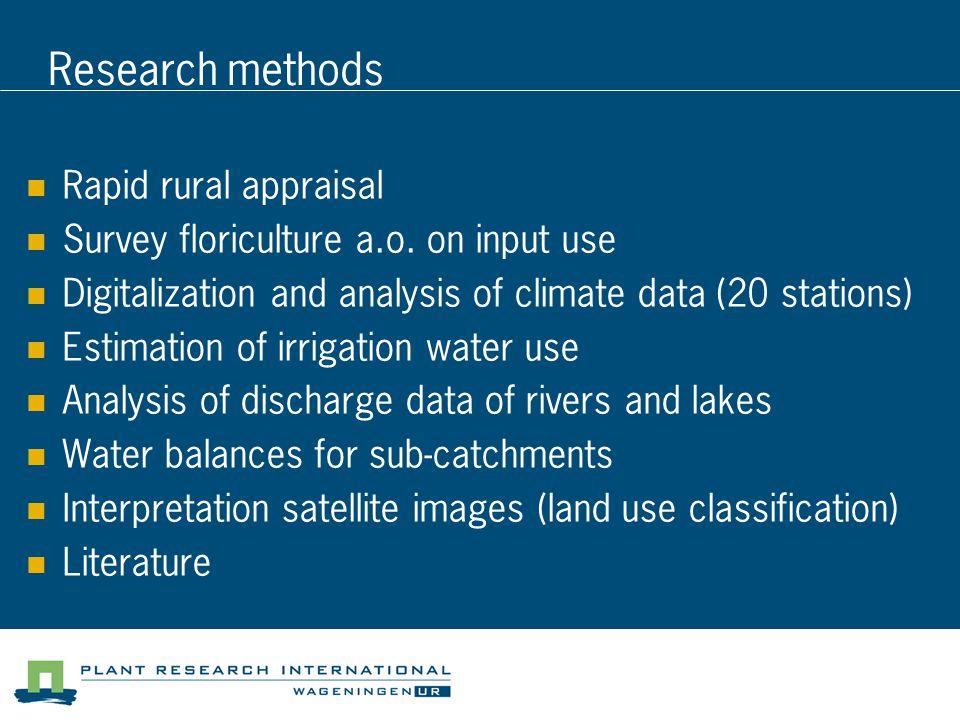 Research methods Rapid rural appraisal Survey floriculture a.o.