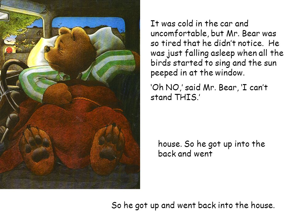 Well, you would not believe what noises there are in the garden at night. 'Oh NO,' said Mr. Bear, 'I can't stand THIS.' in the car off So went sleep h