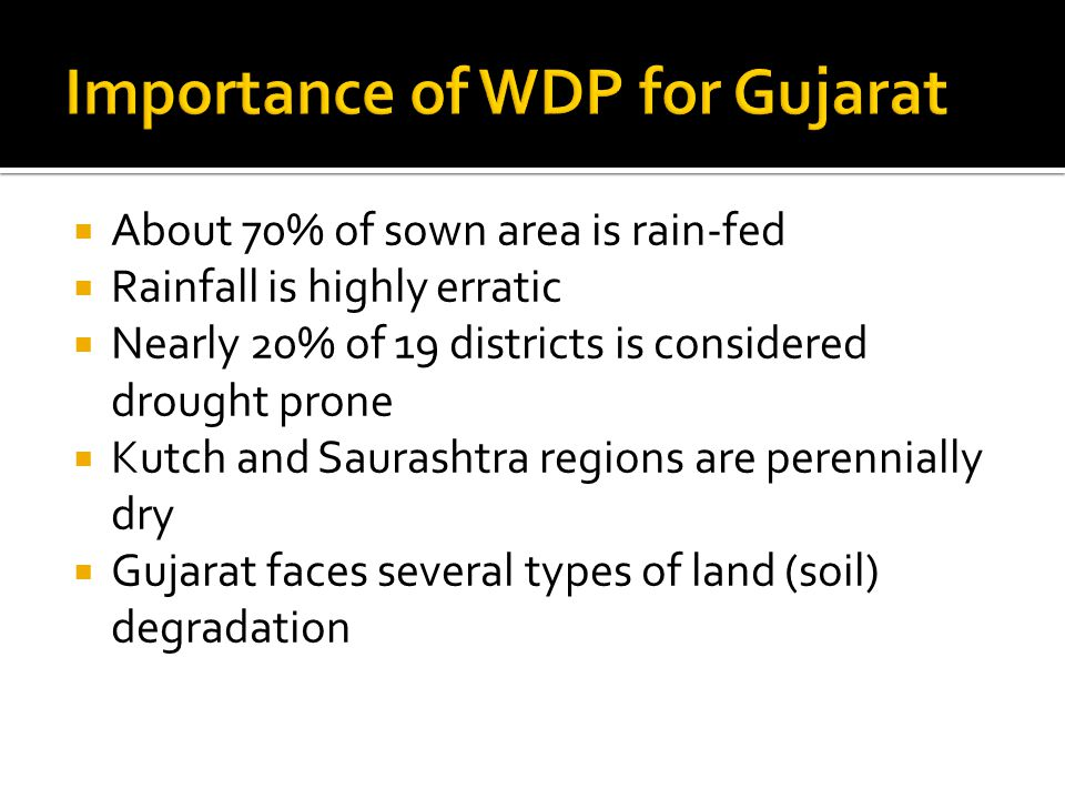  About 70% of sown area is rain-fed  Rainfall is highly erratic  Nearly 20% of 19 districts is considered drought prone  Kutch and Saurashtra regions are perennially dry  Gujarat faces several types of land (soil) degradation