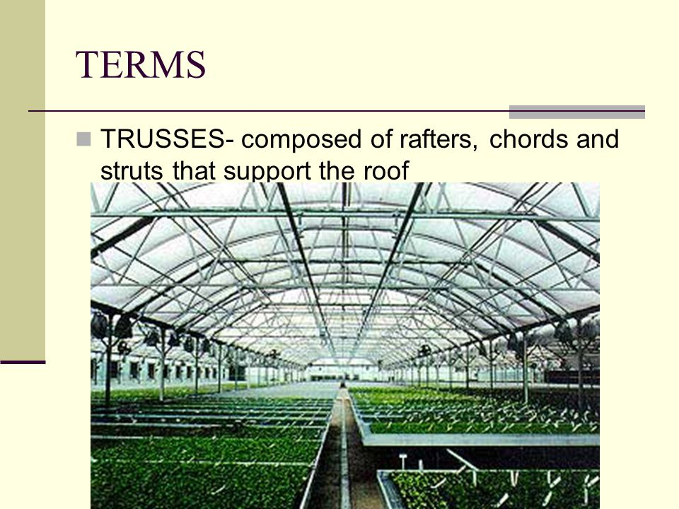 TERMS TRUSSES- composed of rafters, chords and struts that support the roof