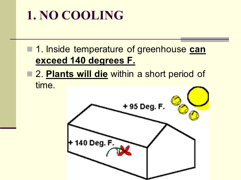 1. NO COOLING 1. Inside temperature of greenhouse can exceed 140 degrees F.