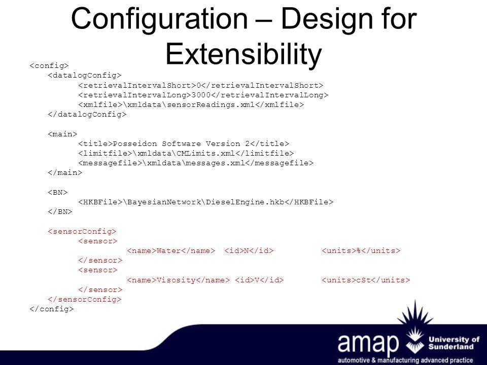 Configuration – Design for Extensibility 0 3000 \xmldata\sensorReadings.xml Posseidon Software Version 2 \xmldata\CMLimits.xml \xmldata\messages.xml \BayesianNetwork\DieselEngine.hkb Water N % Visosity V cSt