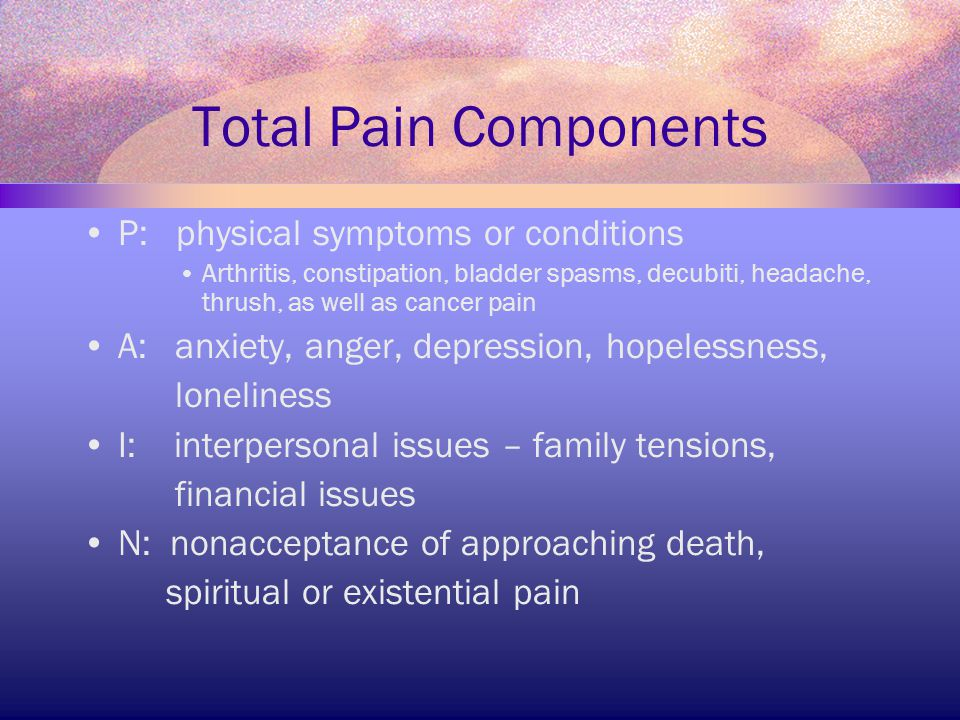 Total Pain Components P: physical symptoms or conditions Arthritis, constipation, bladder spasms, decubiti, headache, thrush, as well as cancer pain A