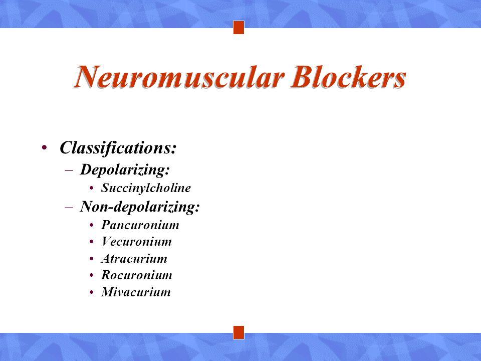 Neuromuscular Blockers Classifications: –Depolarizing: Succinylcholine –Non-depolarizing: Pancuronium Vecuronium Atracurium Rocuronium Mivacurium