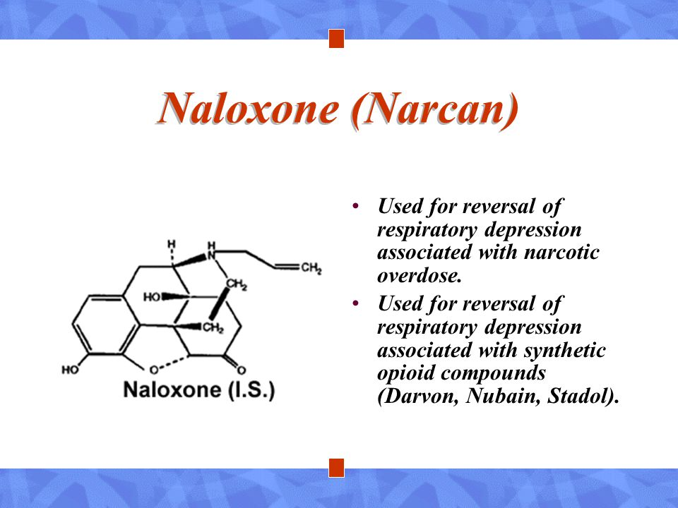 Naloxone (Narcan) Used for reversal of respiratory depression associated with narcotic overdose. Used for reversal of respiratory depression associate