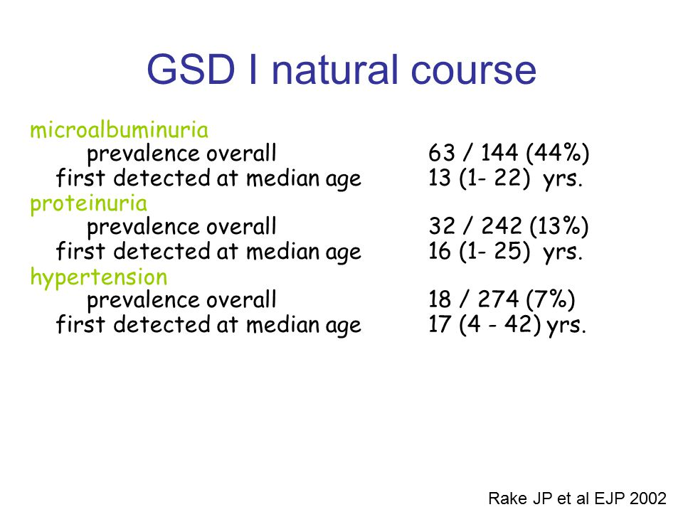 GSD I natural course microalbuminuria prevalence overall 63 / 144 (44%) first detected at median age13 (1- 22) yrs. proteinuria prevalence overall 32