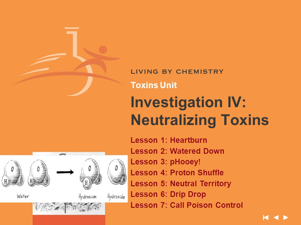 Toxins Unit Investigation IV: Neutralizing Toxins Lesson 1: Heartburn Lesson 2: Watered Down Lesson 3: pHooey! Lesson 4: Proton Shuffle Lesson 5: Neut