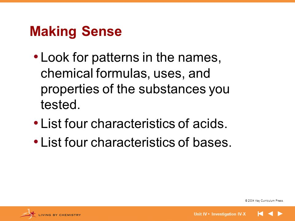© 2004 Key Curriculum Press. Unit IV Investigation IV-X Making Sense Look for patterns in the names, chemical formulas, uses, and properties of the su