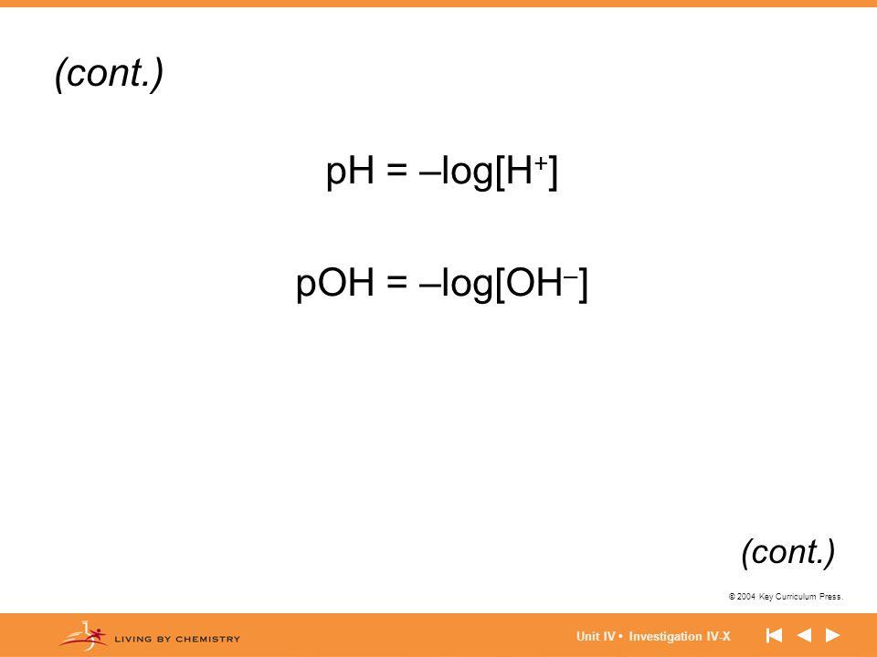 © 2004 Key Curriculum Press. Unit IV Investigation IV-X pH = –log[H + ] pOH = –log[OH – ] (cont.)