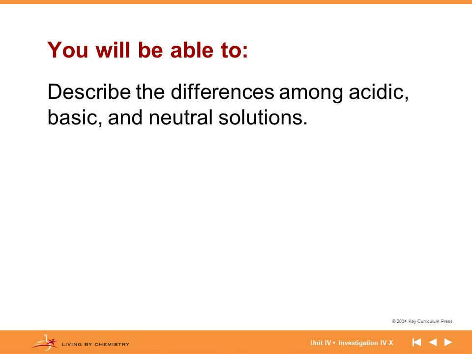 © 2004 Key Curriculum Press. Unit IV Investigation IV-X You will be able to: Describe the differences among acidic, basic, and neutral solutions.